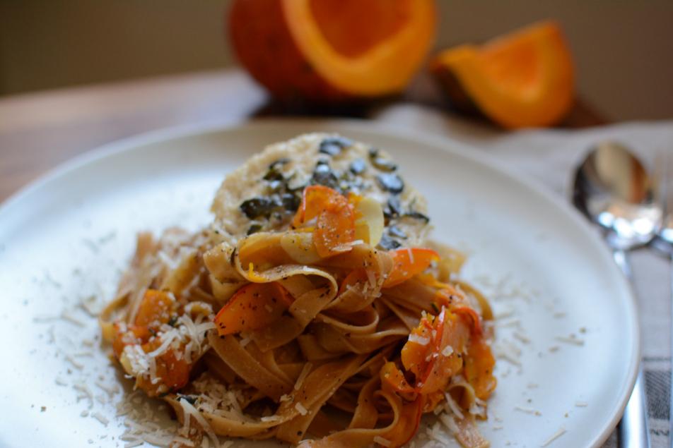 Kürbispasta aglio e olio