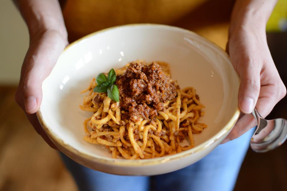 Ragu alla bolognese mit Bauernspätzle