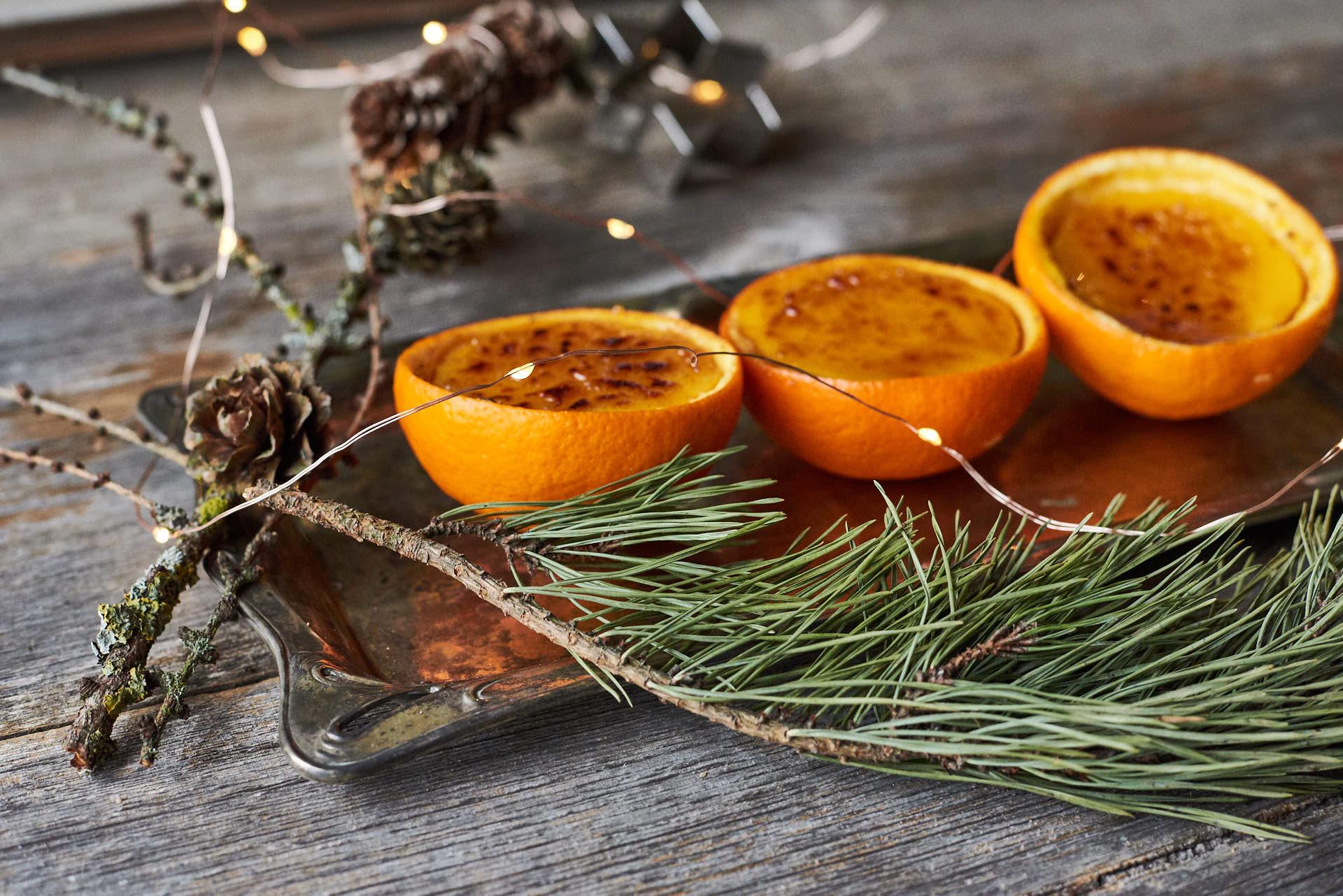 Orangencrème brûlée als weihnachtliches Dessert