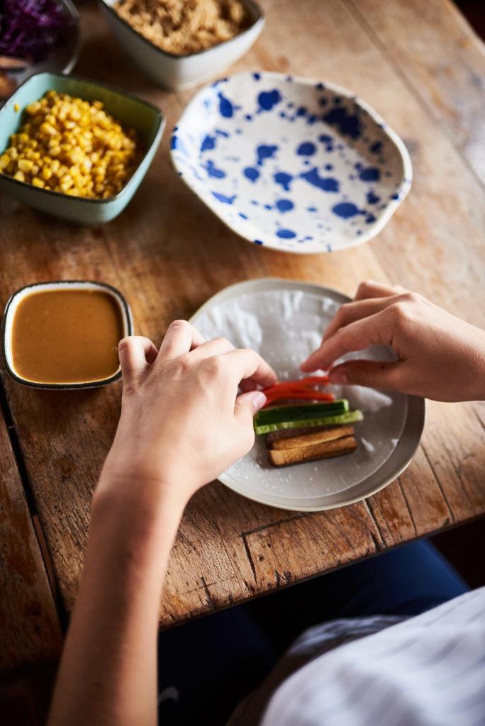 Sommerrollen mit Erdnusssauce